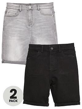v-by-very-boys-2-pack-regular-fit-denim-shorts-black-grey