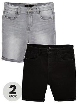 v-by-very-boys-2-pack-skinny-fit-denim-shorts-dark-washlight-grey