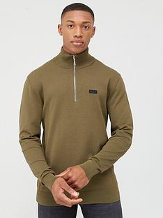 hugo-san-guiseppe-3-14-zip-knitted-jumper-khaki