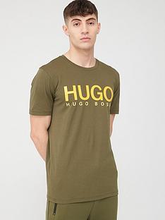 hugo-dolive-hugo-logo-short-sleeve-t-shirt-khaki