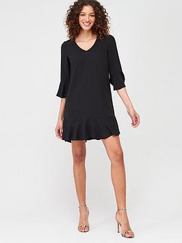 v-by-very-frill-sleeve-smock-dress-black