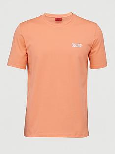 hugo-durned-chest-logo-t-shirt-peach