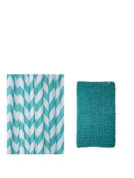 croydex-chevron-shower-curtain-and-bathmat-set-ndash-aqua