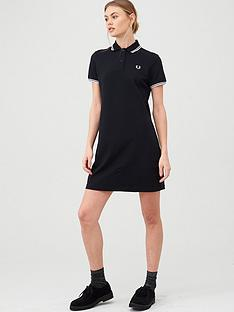 fred-perry-twin-tipped-polo-t-shirt-dress-black