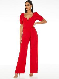 quiz-scuba-crepe-v-bar-puff-sleeve-palazzo-jumpsuit-red