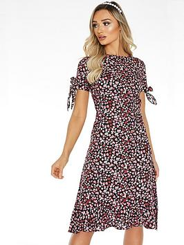 quiz-woven-ditsy-floral-round-neck-short-sleeve-midi-dress-black