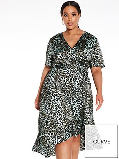 quiz-curve-satin-leopard-print-dip-hem-dress-multi
