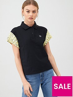 fred-perry-precis-pleated-sleeve-polo-t-shirt-black