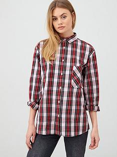 fred-perry-overdyed-tartan-shirt-pink