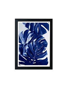 east-end-prints-monstera-blue-by-elena-veronese-a3-framed-wall-art