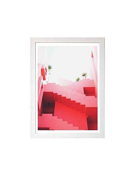 east-end-prints-pink-stairs-by-rafael-farias-a3-framed-wall-art