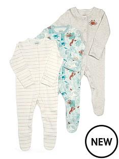 mamas-papas-baby-boys-3-pack-lobster-sleepsuits-multi