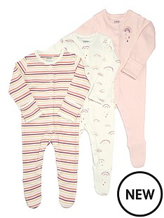 mamas-papas-baby-girls-3-pack-rainbow-sleepsuits-multi