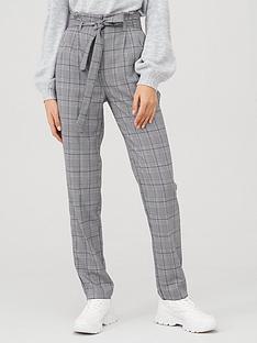 v-by-very-tie-waist-checked-trouser-grey-check