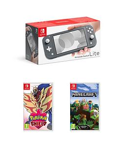 nintendo-switch-nintendo-switch-lite-grey-console-with-pokemon-shield-amp-minecraft