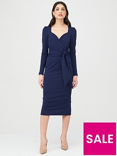 v-by-very-wrap-tie-midi-dress-navy