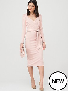 v-by-very-wrap-tie-midi-dress-dusty-pink