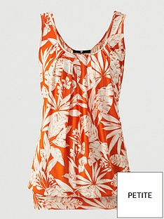 v-by-very-petite-scoop-neck-bubble-hem-vest-orange-print