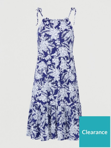 v-by-very-tiered-jersey-tie-shoulder-short-dress-navy-print