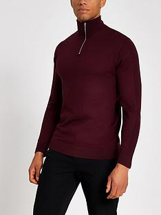 river-island-burgundy-half-zip-slim-fit-knitted-jumper
