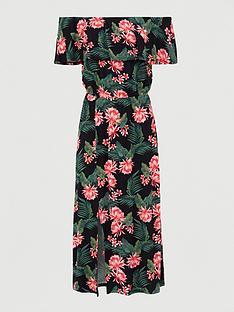 v-by-very-bardot-frill-jersey-midi-dress-black-print
