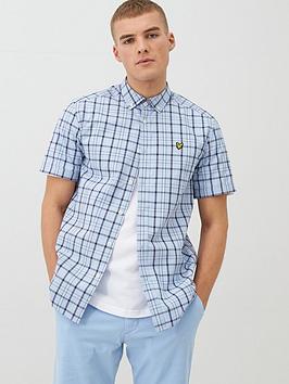 lyle-scott-short-sleeved-check-shirt-light-blue