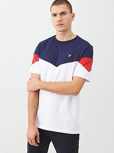 lyle-scott-panel-t-shirt-navywhite