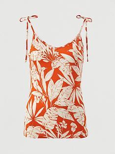 v-by-very-tie-shoulder-jersey-vest-orange-print