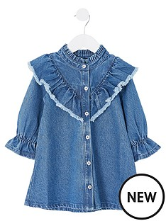 river-island-mini-mini-girls-frill-neck-denim-dress-blue