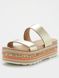 v-by-very-hollo-leather-neon-glitter-trim-flatform-sandal-gold