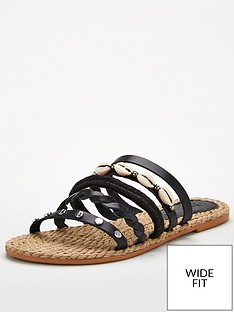 v-by-very-leather-wide-fit-hox-shell-trim-strappy-sandal-black
