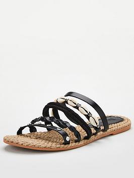 v-by-very-hox-leather-shell-trim-strappy-sandal-black