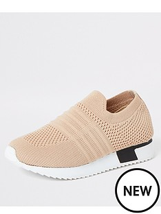 river-island-mini-mini-kids-knitted-runner-trainers-beige