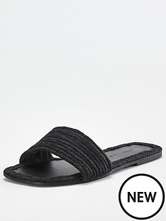 v-by-very-harri-wide-fit-raffia-slider-black