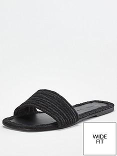 v-by-very-harri-wide-fit-raffia-slider-black