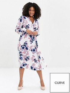 evans-blossom-print-shirt-dress-ivory