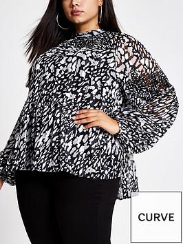 ri-plus-printed-long-sleeve-blousenbsp--blackwhite