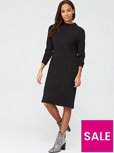 v-by-very-knitted-grown-on-neck-midi-dress-black