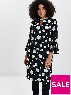 evans-neutral-floral-twist-neck-dress-black