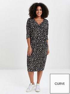 evans-polka-dot-button-pocket-dress-black