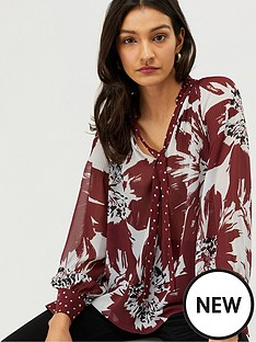 monsoon-ruby-recycled-polyester-print-blouse-burgundy