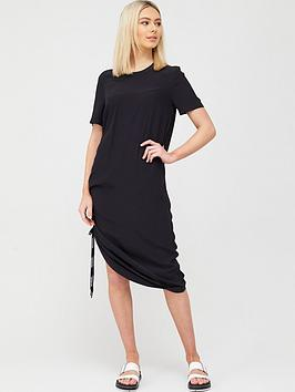 calvin-klein-jeans-short-sleeve-drapey-dress-with-lacing-black