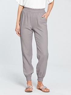 v-by-very-shirred-waist-linen-blendnbspjogger-grey
