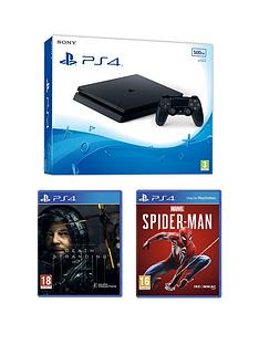 playstation-4-ps4-black-500gb-console-with-death-stranding-marvels-spider-man-and-optional-extras