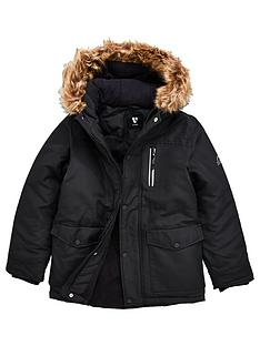 v-by-very-boys-shower-proof-faux-fur-hooded-parka-school-coat-black