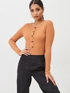 missguided-missguided-ribbed-button-up-bodysuit-brown
