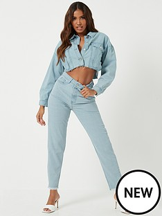 missguided-missguided-riot-high-waisted-plain-mom-jean-with-raw-hem-light-blue