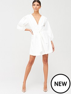 missguided-missguided-plunge-self-button-belted-mini-dress-white