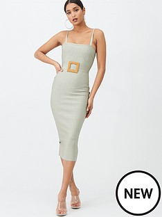 missguided-missguided-bandage-rafia-style-belt-midi-dress-mint