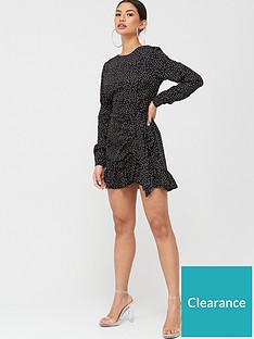 missguided-missguided-ruched-button-side-polka-dot-tea-dress-black